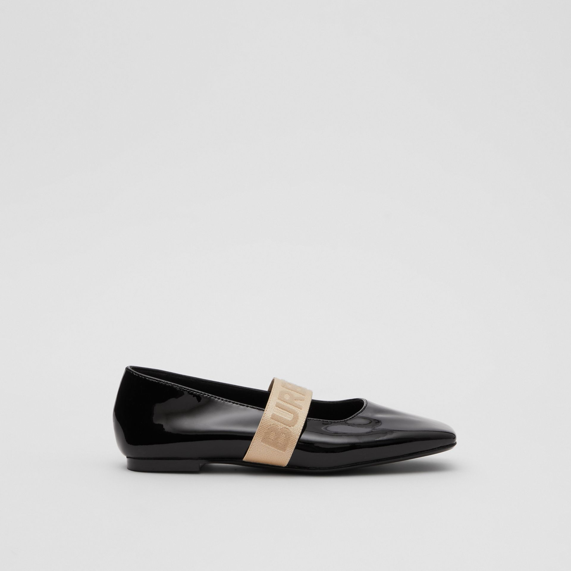 Logo Detail Patent Leather Flats in Black - Children | Burberry - gallery image 3