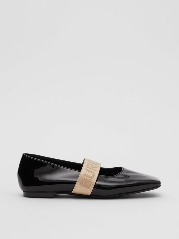 Logo Detail Patent Leather Flats in Black - Children | Burberry United States - cell image 3
