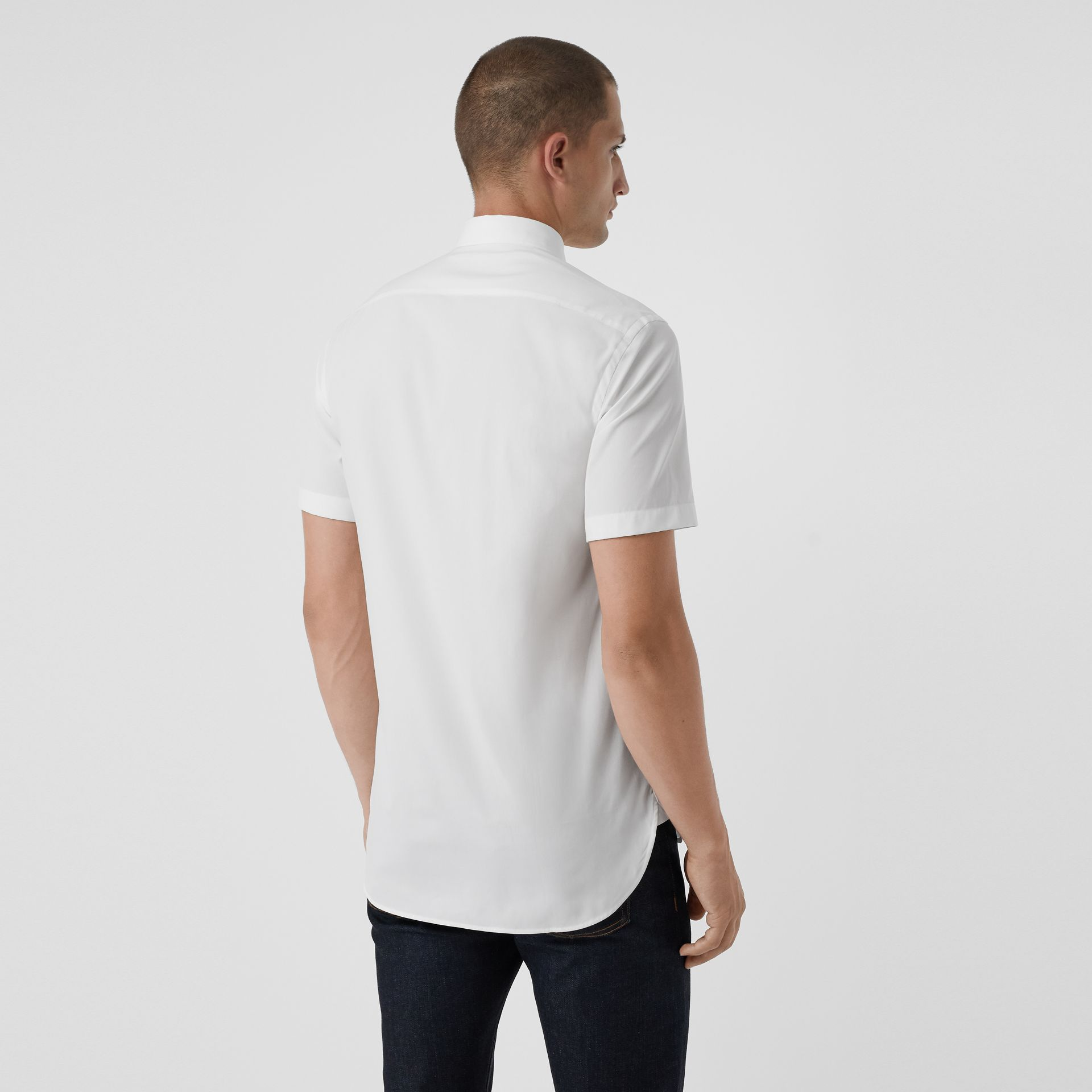 Short-sleeve Stretch Cotton Shirt in White - Men | Burberry Australia - gallery image 2