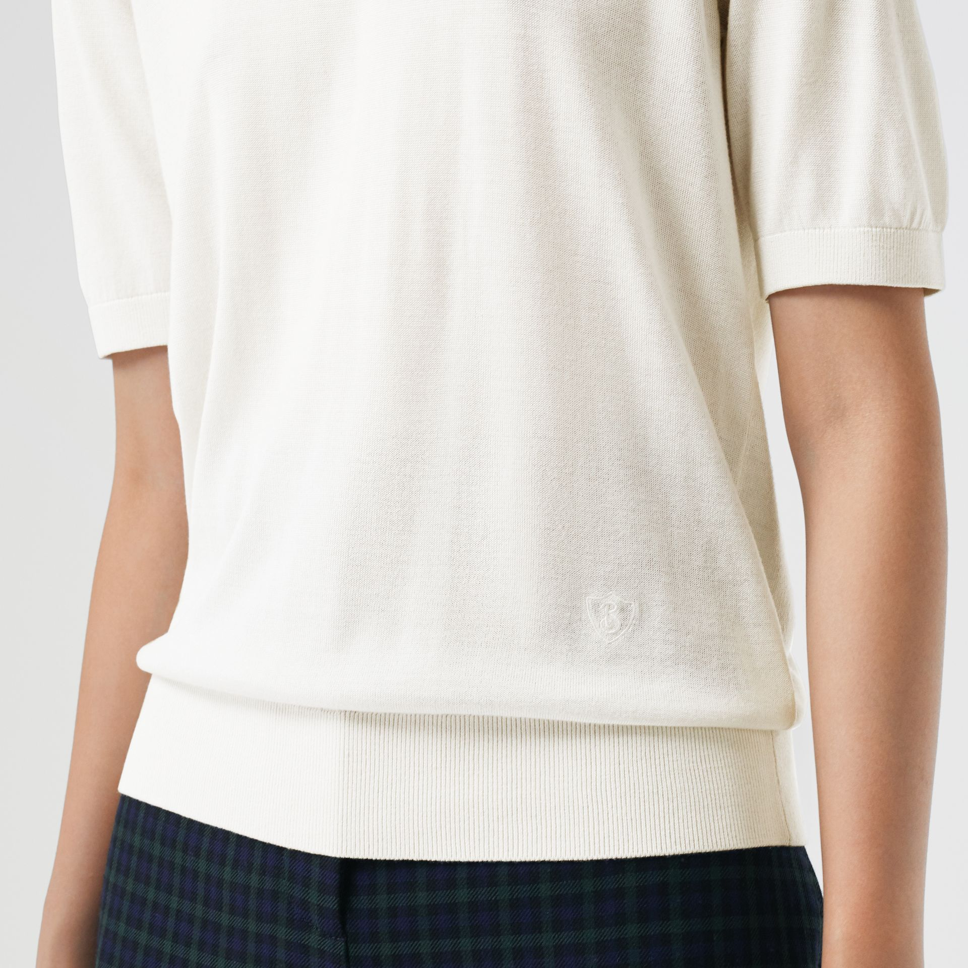 Short-sleeve Silk Cashmere Sweater in Natural White - Women | Burberry Australia - gallery image 1