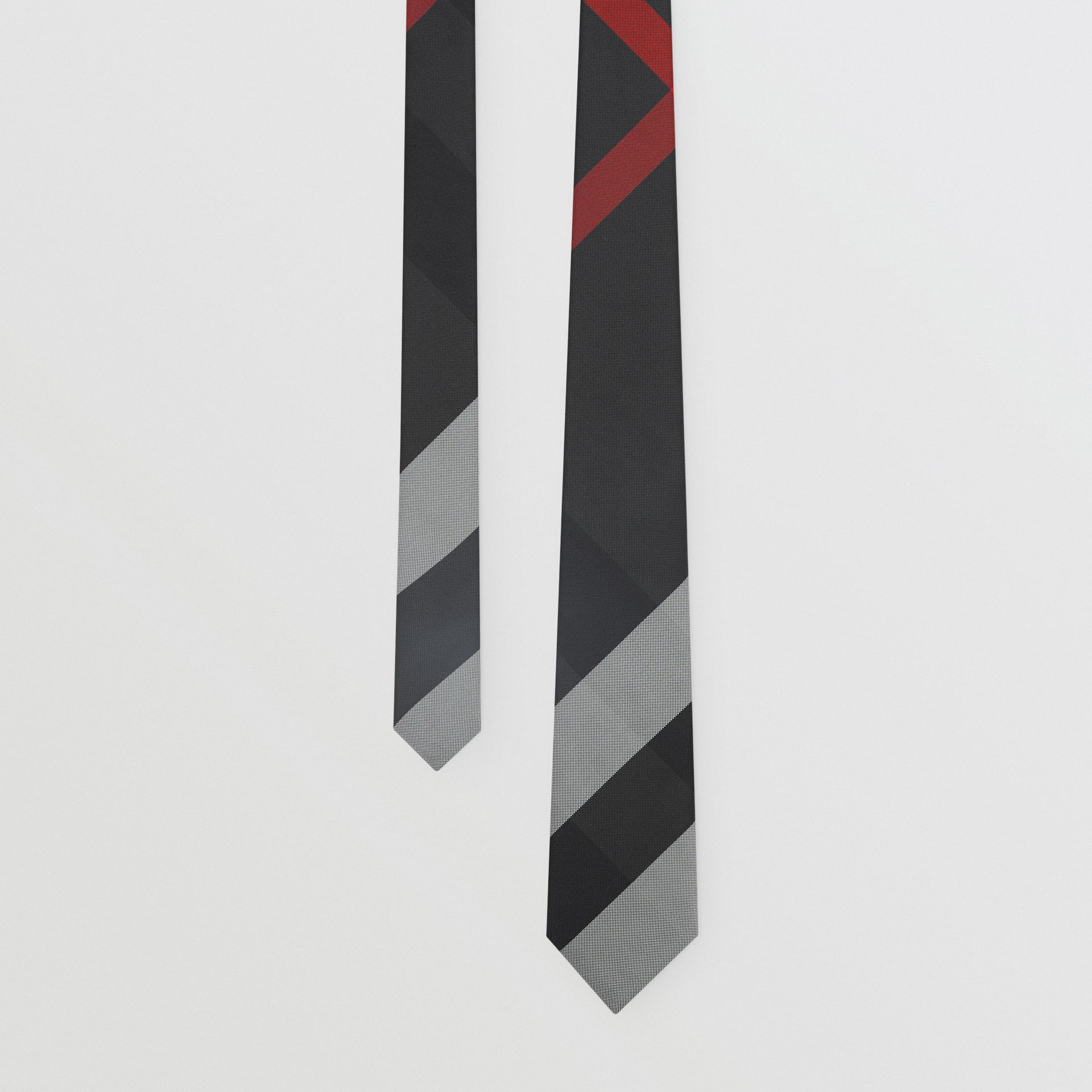 Modern Cut Oversized Check Silk Tie in Charcoal - Men | Burberry United Kingdom - gallery image 0