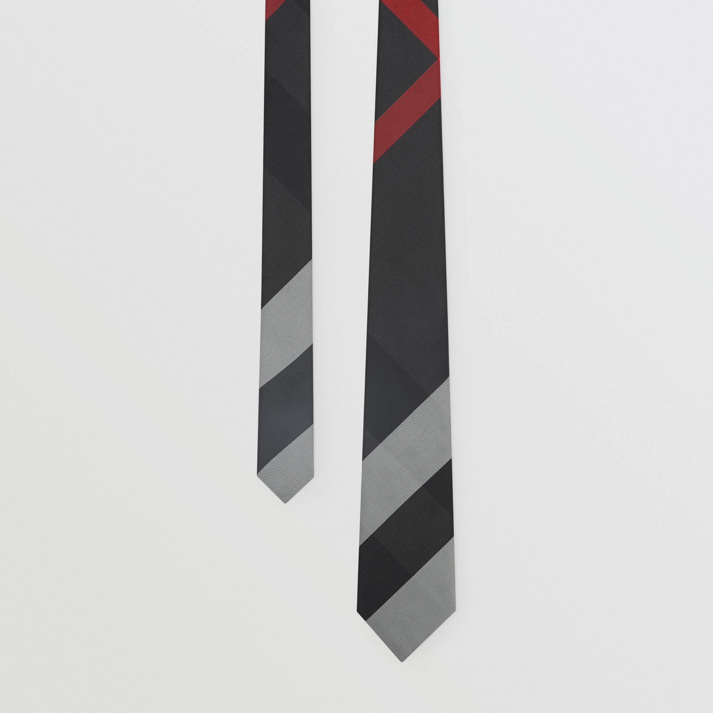 Classic Cut Oversized Check Silk Tie in Charcoal - Men | Burberry Canada - 1