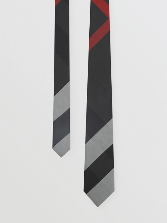 Modern Cut Oversized Check Silk Tie in Charcoal