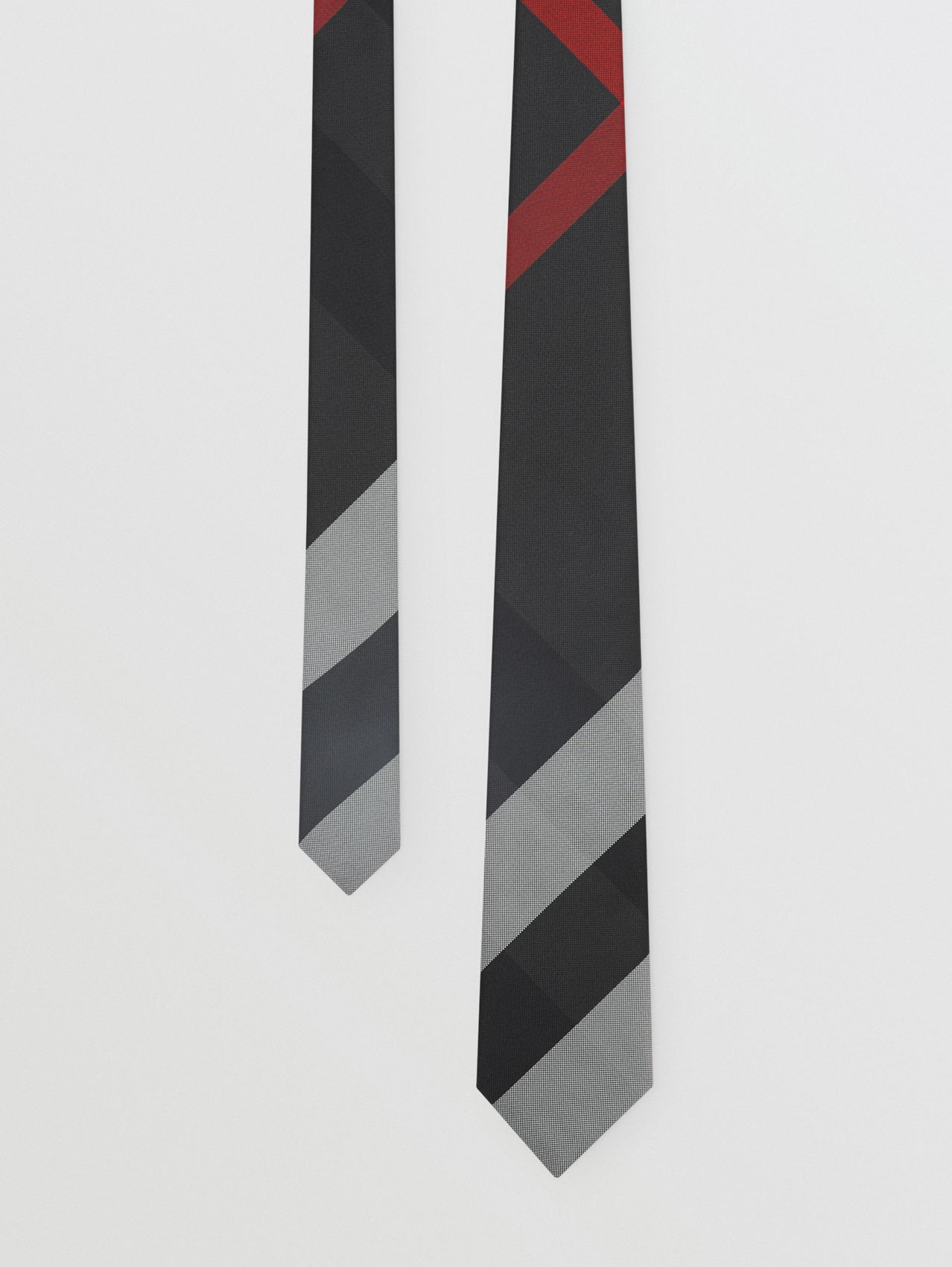 Classic Cut Oversized Check Silk Tie in Charcoal