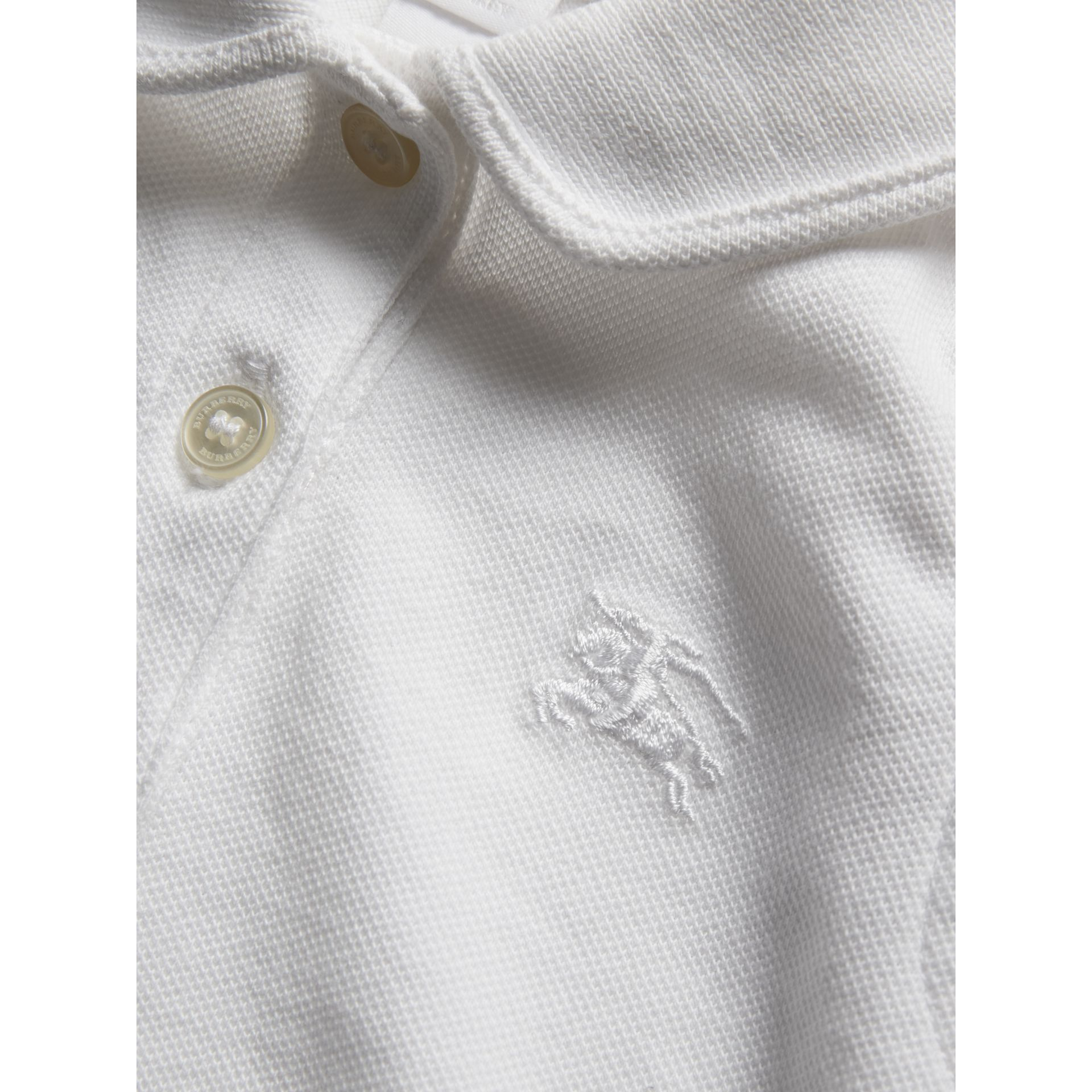 Flutter-sleeve Cotton Piqué Polo Shirt in White | Burberry United States - gallery image 1