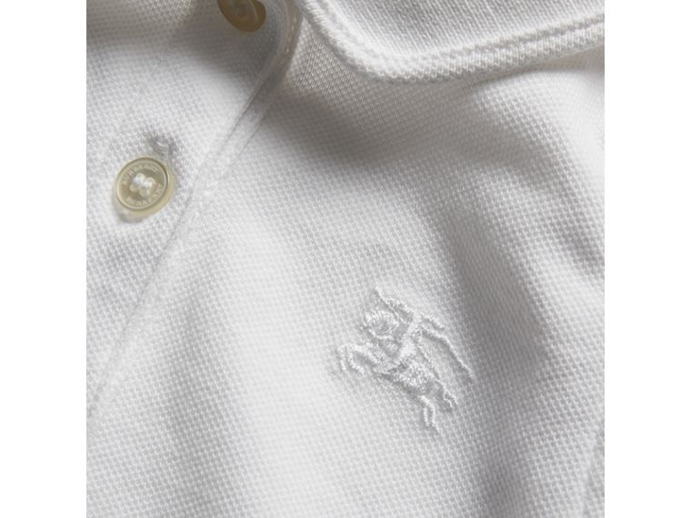 Flutter-sleeve Cotton Piqué Polo Shirt in White | Burberry - cell image 1