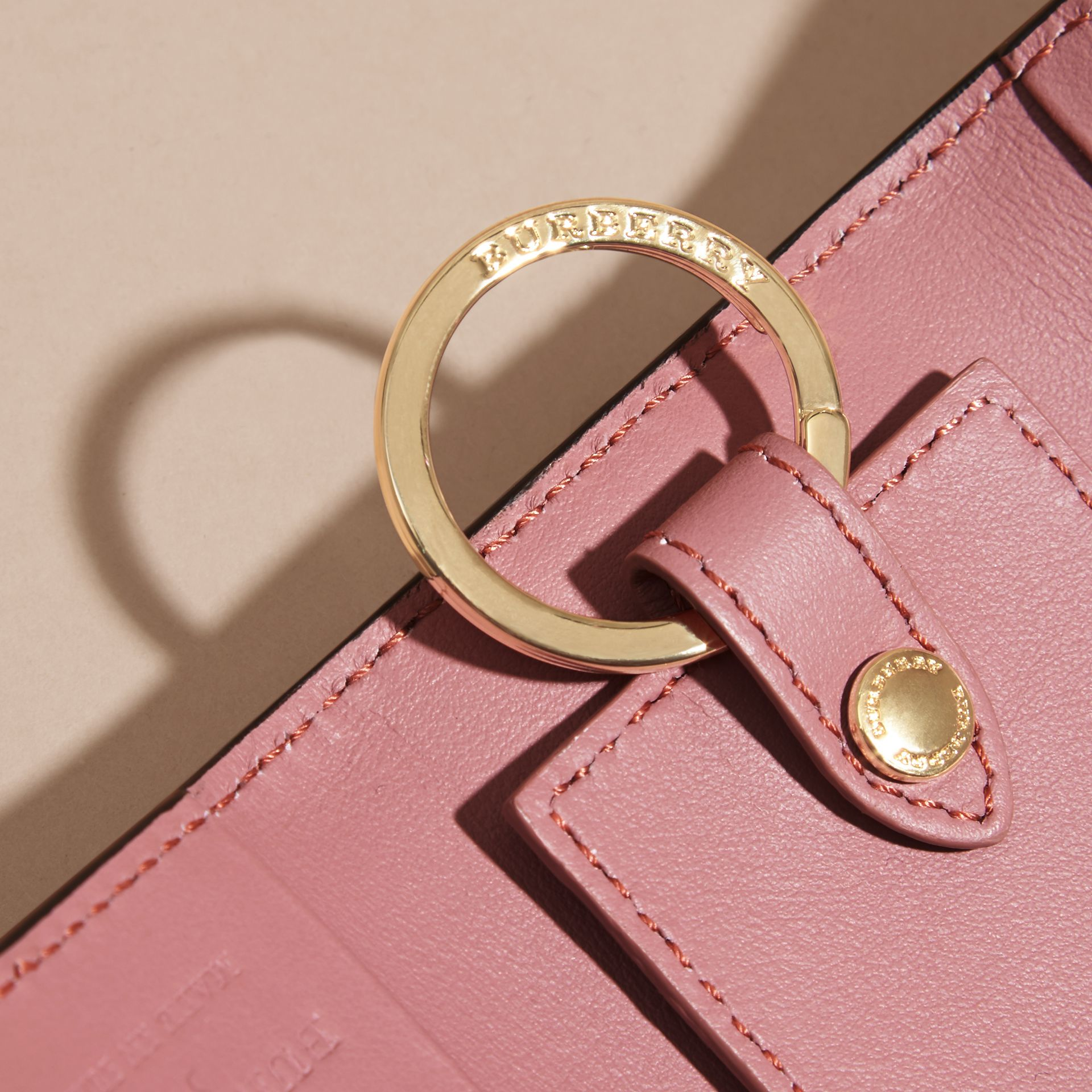 Grainy Leather Key Holder in Dusty Pink - Women | Burberry United States - gallery image 1