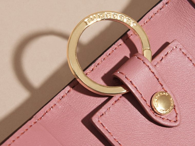 Grainy Leather Key Holder in Dusty Pink - Women | Burberry United States - cell image 1