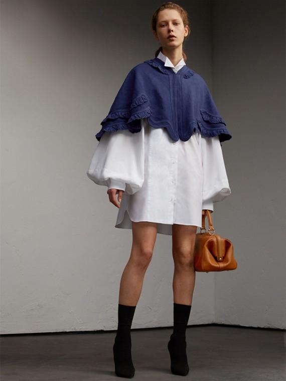 褶飾細節苧麻棉質小披肩