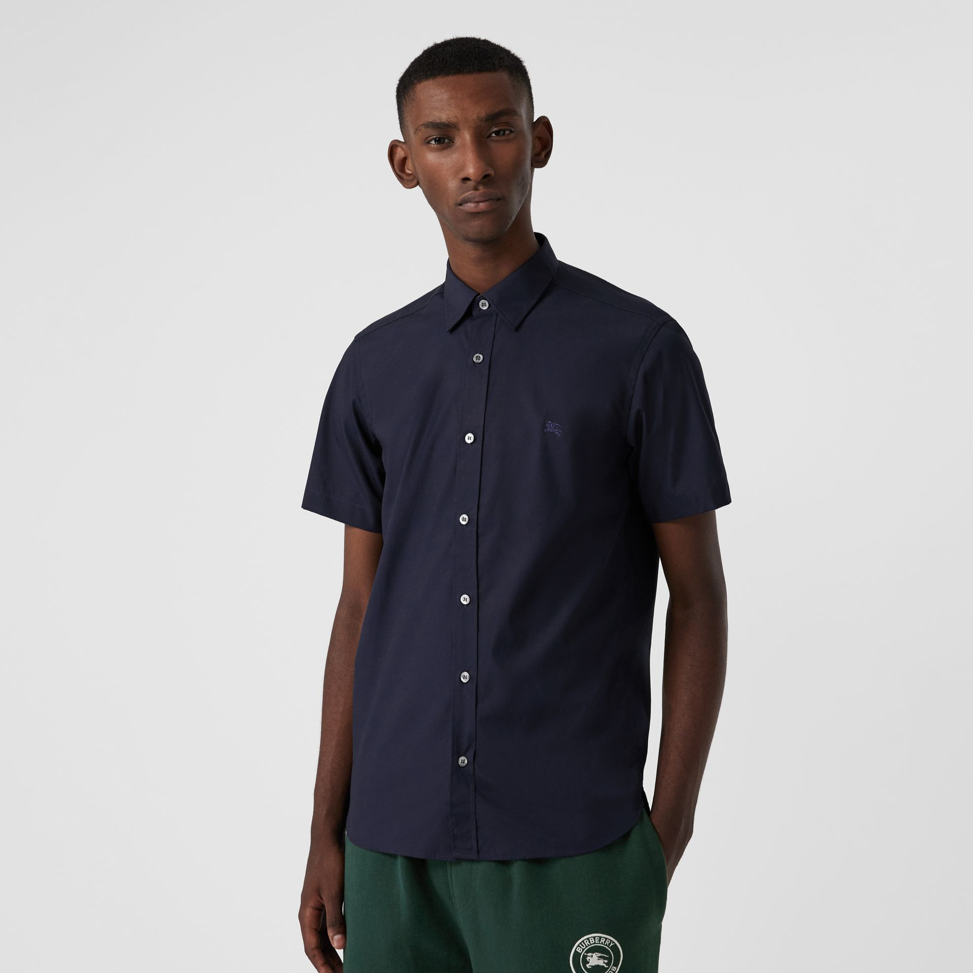 Short-sleeve Stretch Cotton Shirt in Navy - Men | Burberry - gallery image 4
