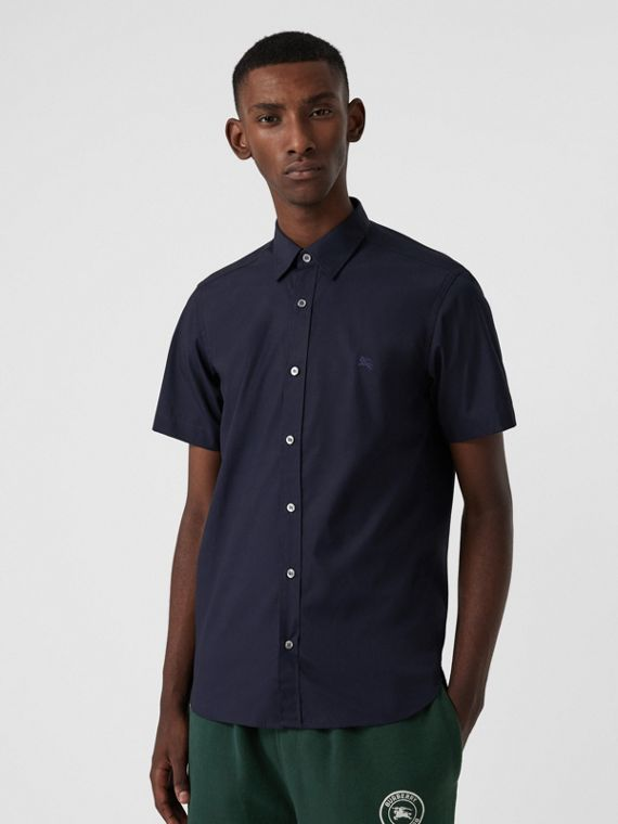 Short-sleeve Stretch Cotton Shirt in Navy