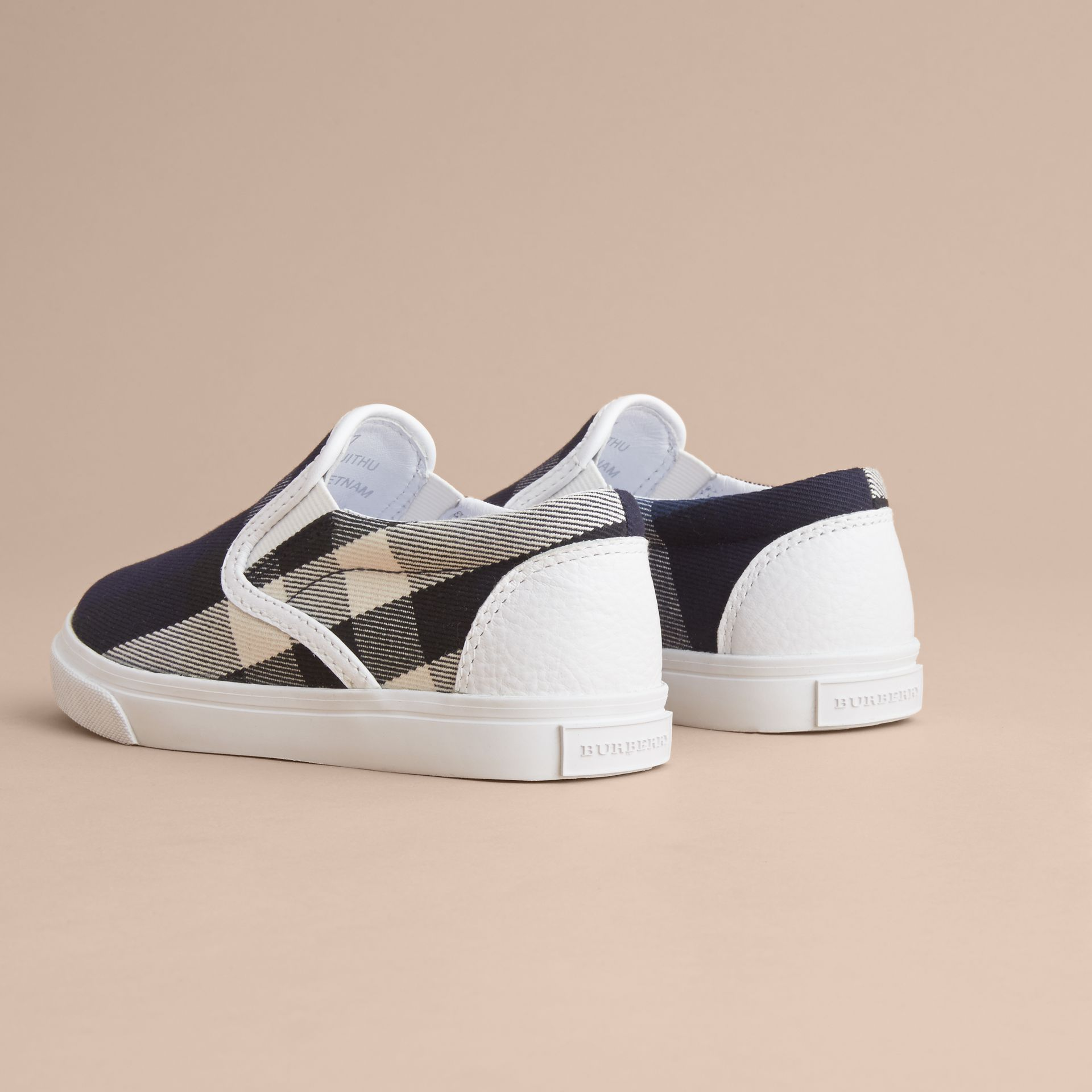 Tonal House Check and Leather Slip-on Trainers in Bright Sapphire | Burberry - gallery image 4