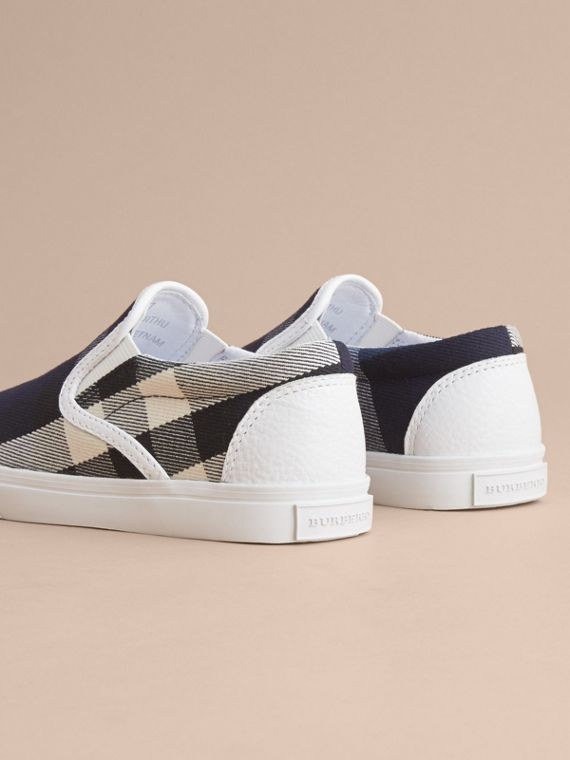 Tonal House Check and Leather Slip-on Trainers Bright Sapphire - cell image 3