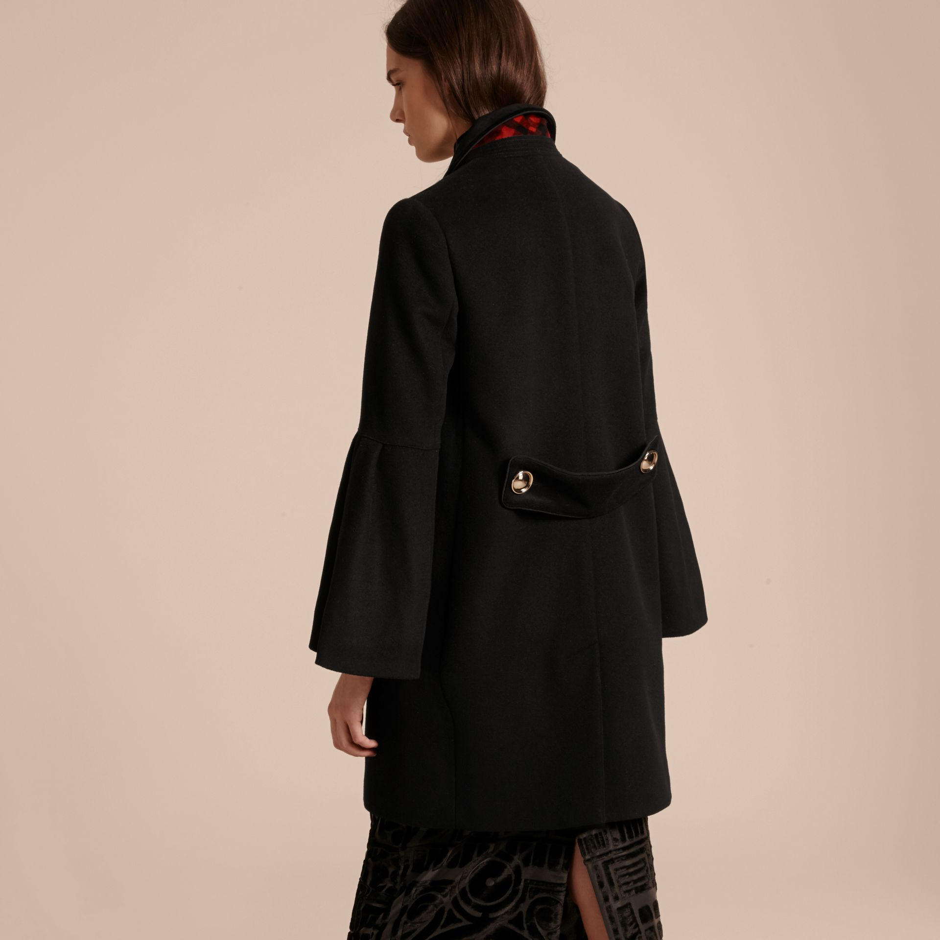 Black Tailored Wool Cashmere Coat with Bell Sleeves Black - gallery image 3