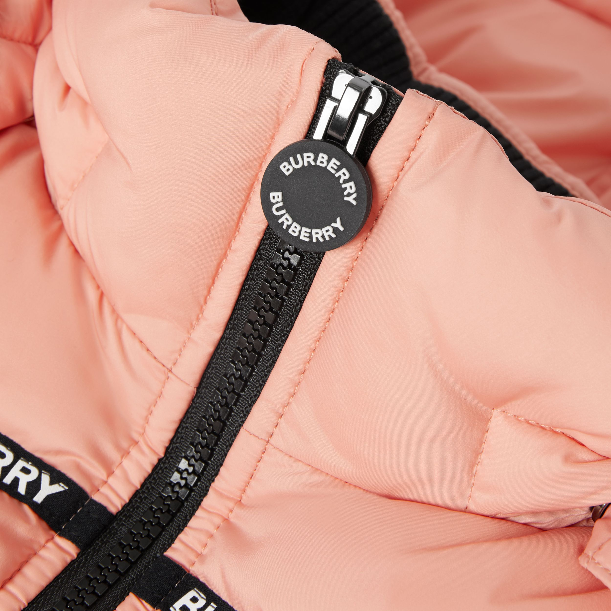 Detachable Hood Logo Tape Puffer Coat | Burberry - 2