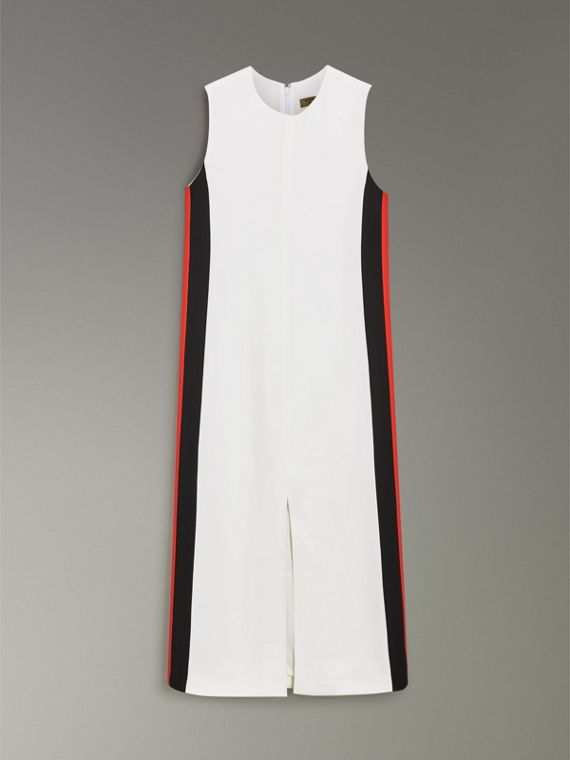 Stripe Detail Crepe Shift Dress in Natural White - Women | Burberry - cell image 3