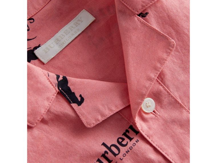 Short-sleeve Archive Logo Print Cotton Shirt in Rose Pink - Girl | Burberry - cell image 1
