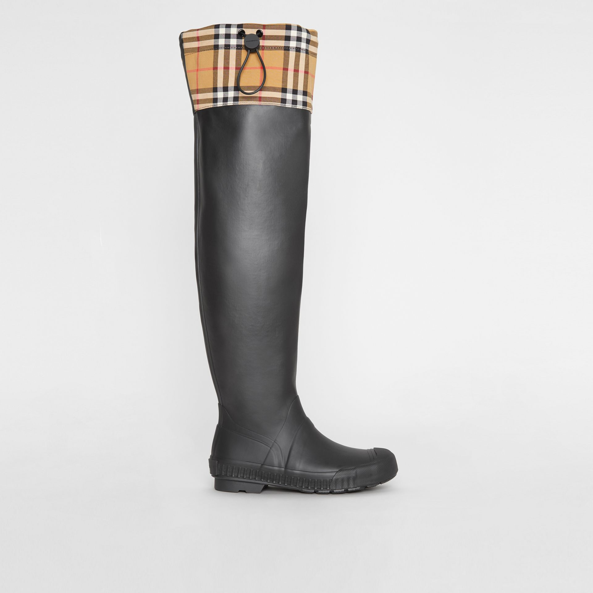 Vintage Check and Rubber Knee-high Rain Boots in Black - Women | Burberry United Kingdom - gallery image 5