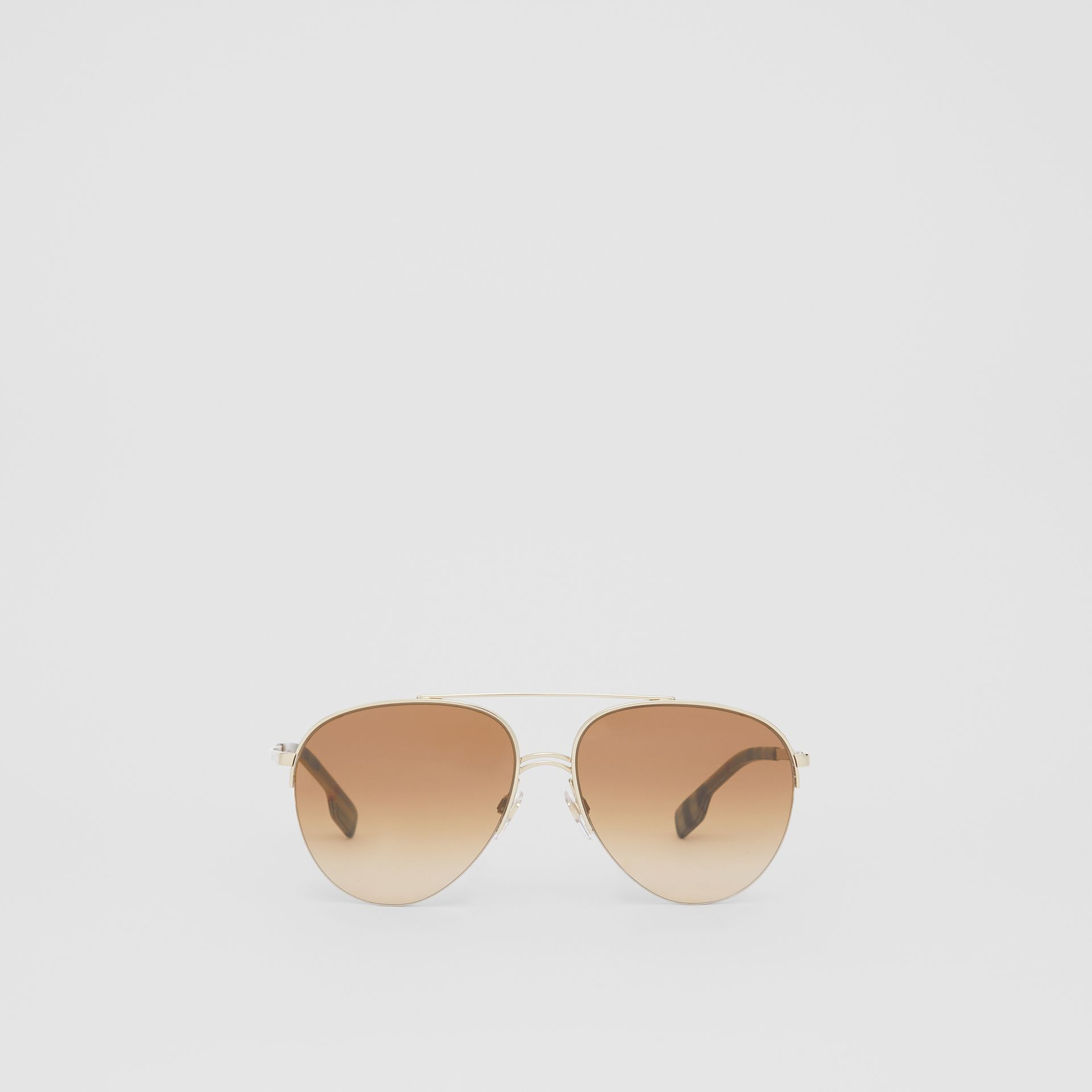 Top Bar Detail Pilot Sunglasses in Light Brown - Women | Burberry Australia - gallery image 0
