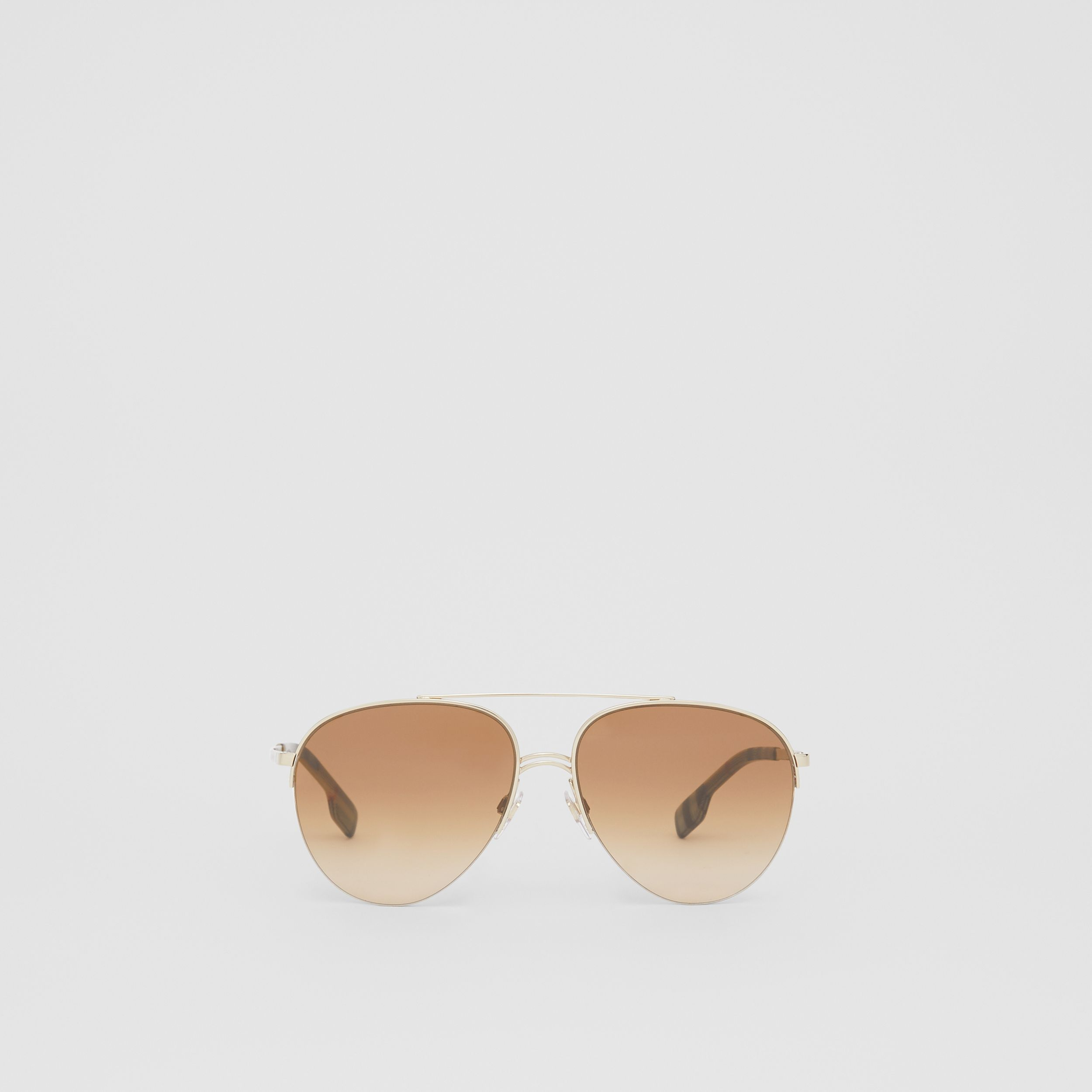 Top Bar Detail Pilot Sunglasses in Light Brown - Women | Burberry - 1