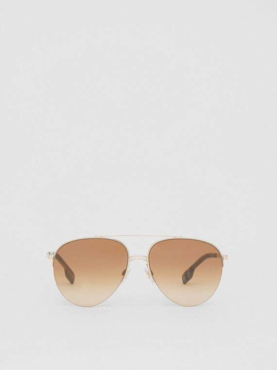 Top Bar Detail Pilot Sunglasses in Light Brown