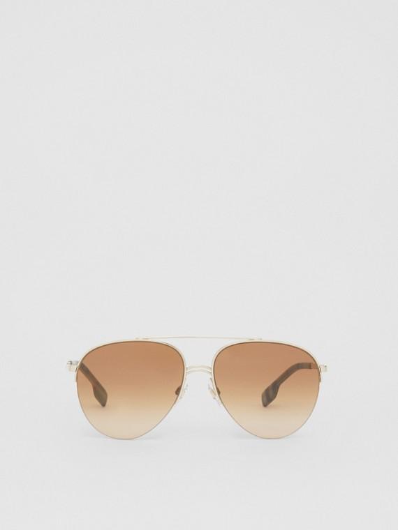 Gafas de sol estilo aviador con doble puente (Marrón Claro)
