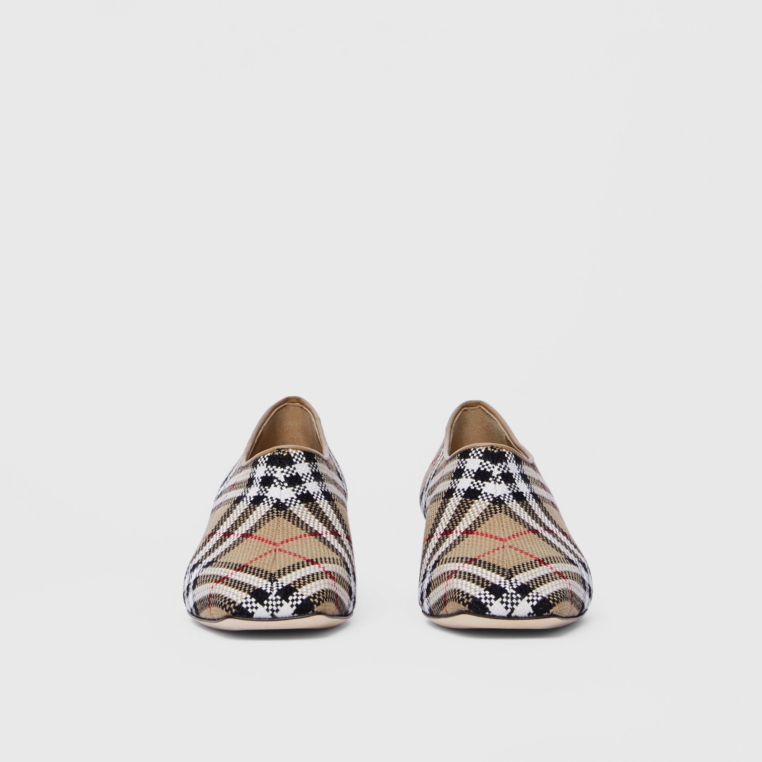 Latticed Cotton Kitten-heel Pumps in Archive Beige - Women | Burberry - 3