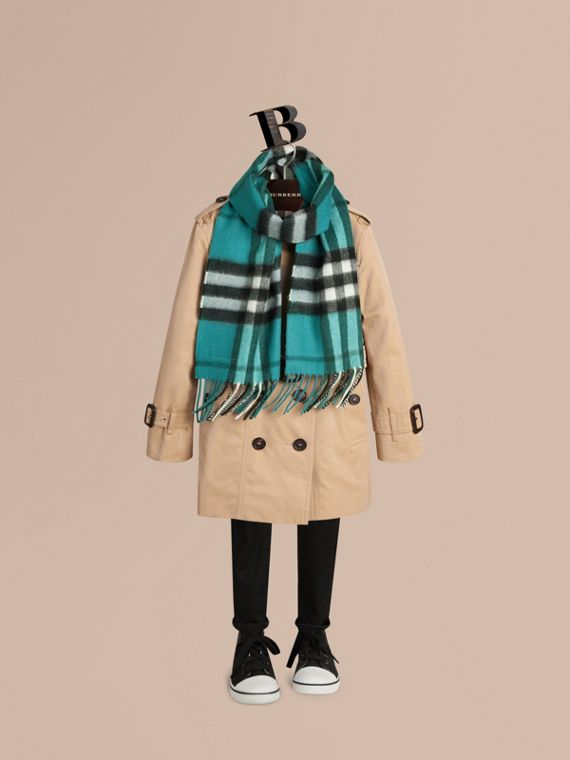 The Mini Classic Cashmere Scarf in Check in Dark Aqua - cell image 2