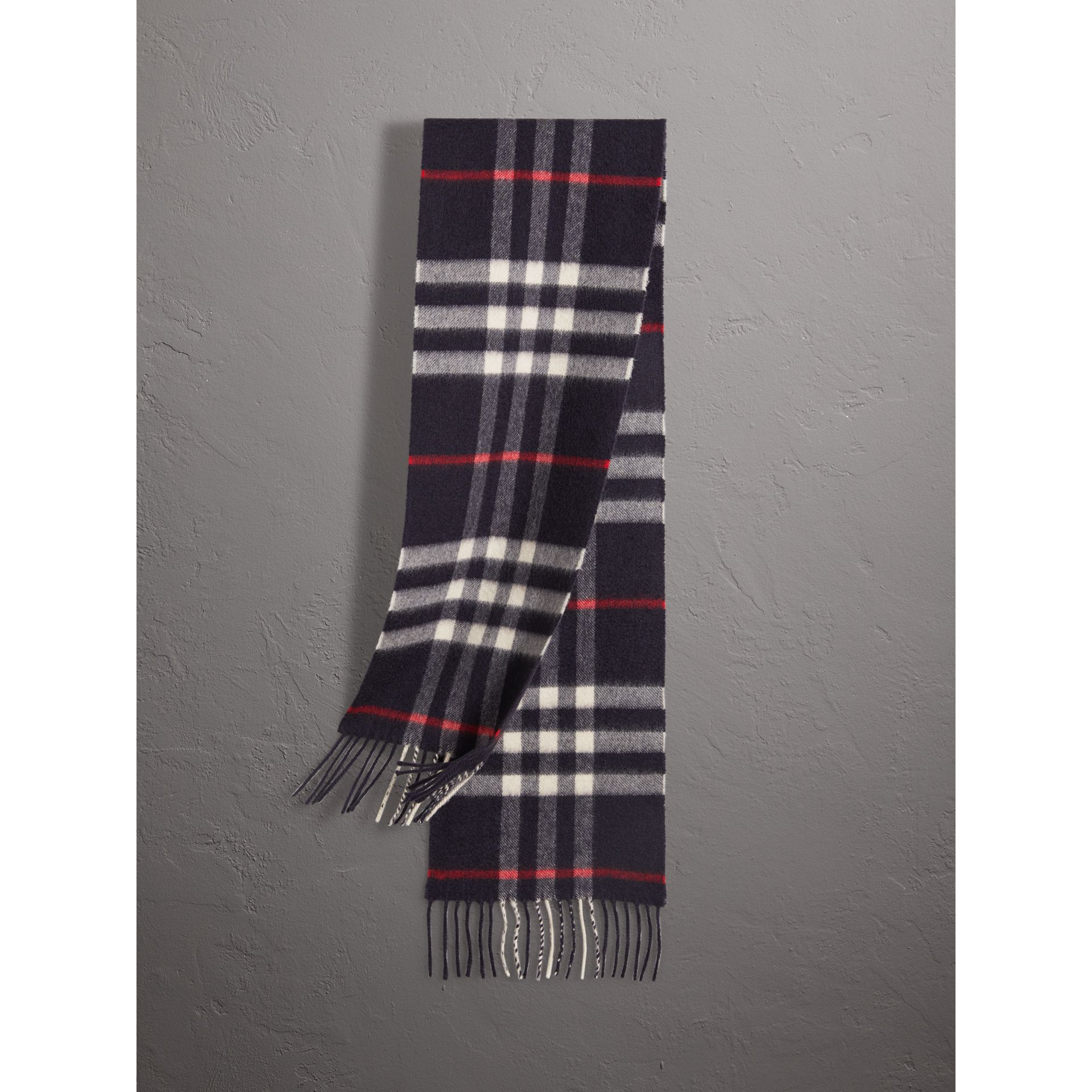 The Mini Classic Check Cashmere Scarf in Navy | Burberry Canada - gallery image 0