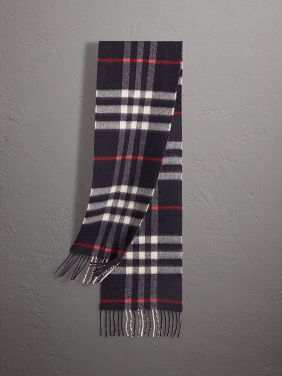 The Mini Classic Check Cashmere Scarf in Navy