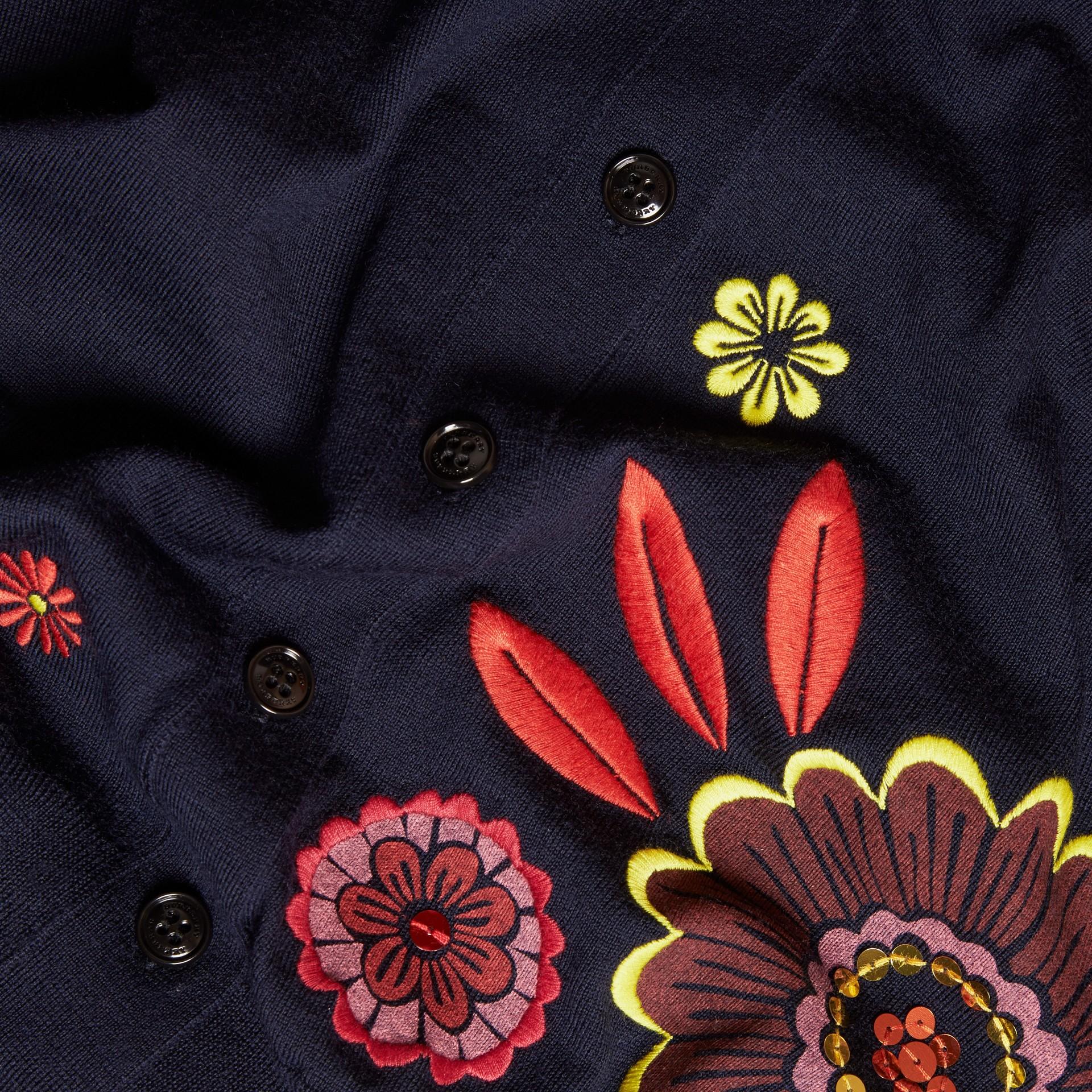 Navy Floral-embellished Merino Wool Cardigan - gallery image 2