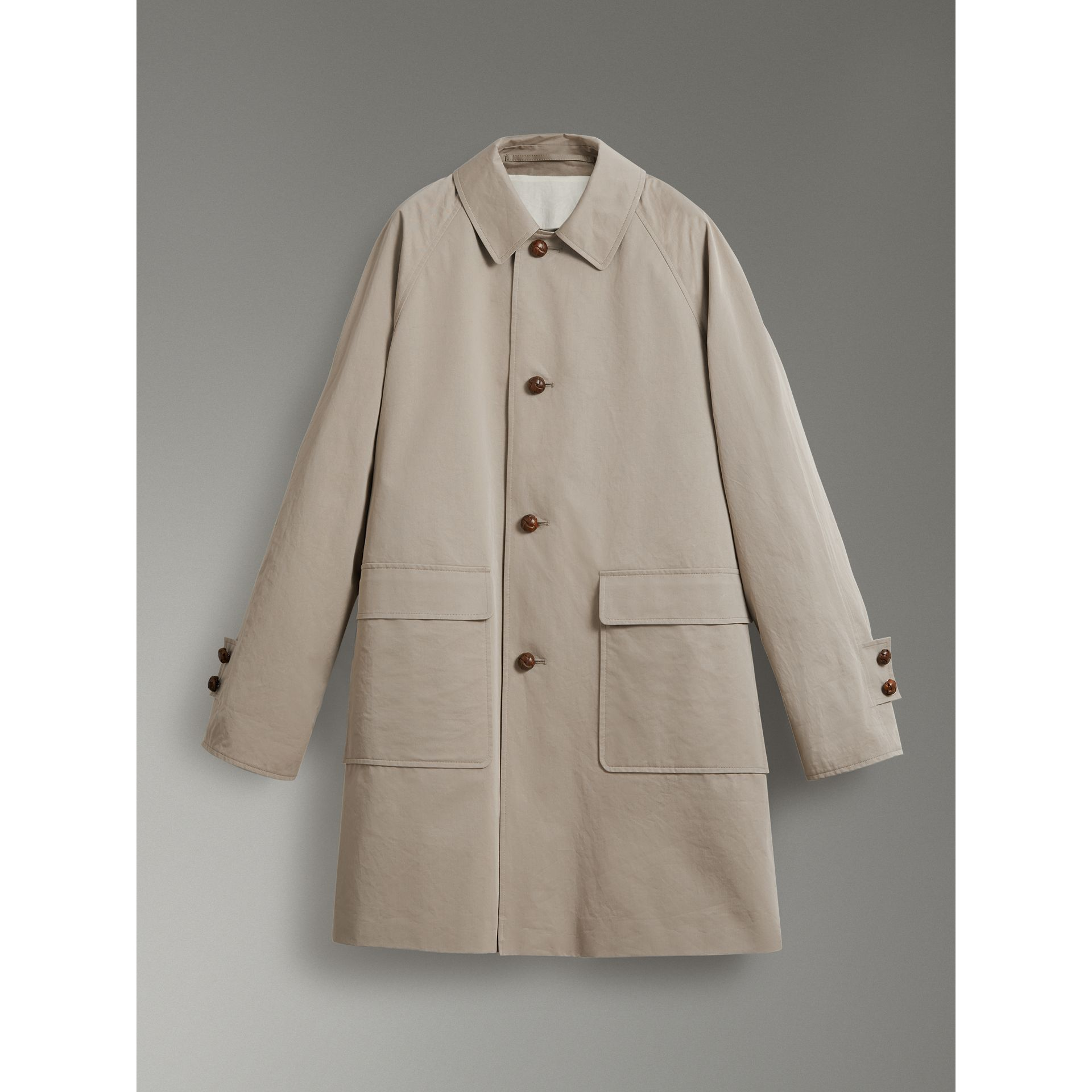 Reissued Waxed Cotton Gabardine Car Coat in Khaki - Women | Burberry United Kingdom - gallery image 3