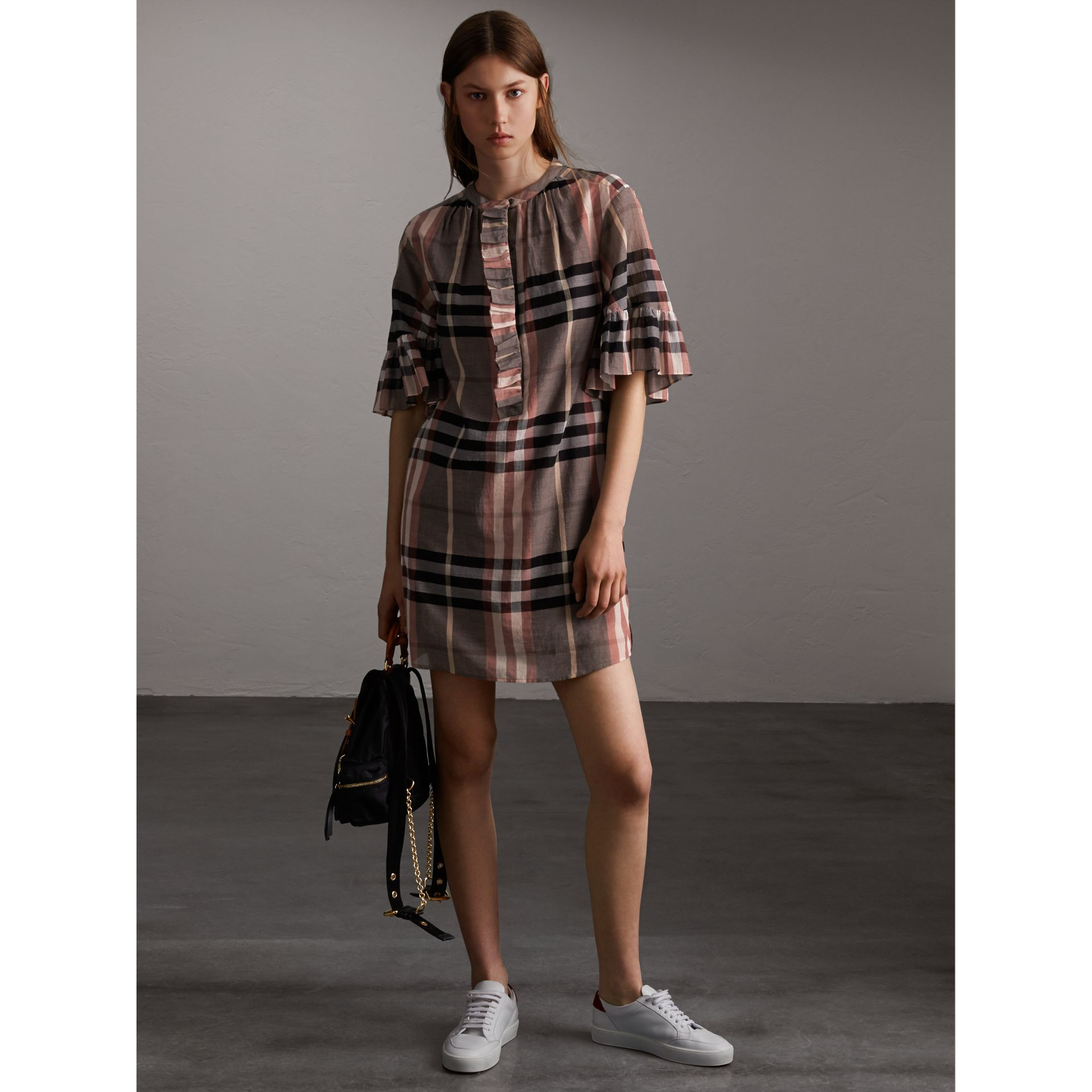 Ruffled Placket Check Cotton Dress in Dusty Pink - Women | Burberry - gallery image 1