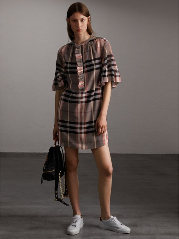 Ruffled Placket Check Cotton Dress - Women | Burberry