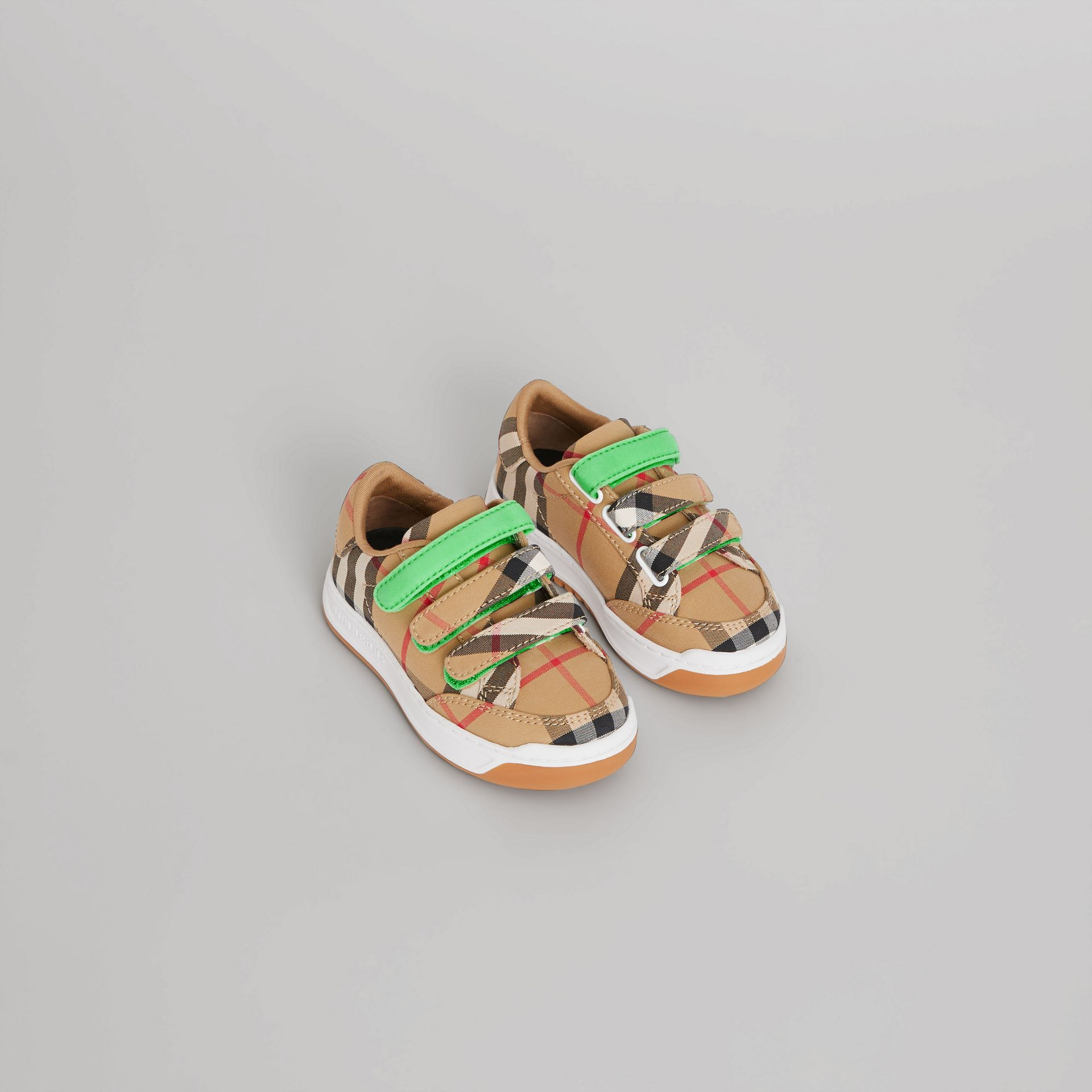 Vintage Check Sneakers in Antique Yellow/neon Green - Children | Burberry Singapore - gallery image 0
