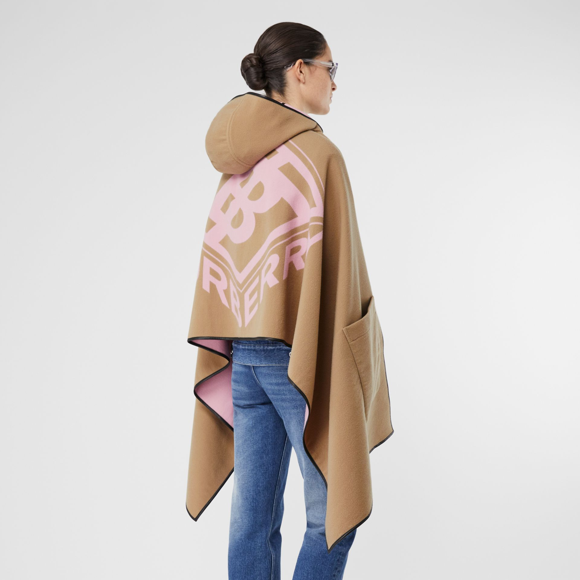 Logo Graphic Wool Cotton Jacquard Hooded Cape in Archive Beige | Burberry United States - gallery image 8
