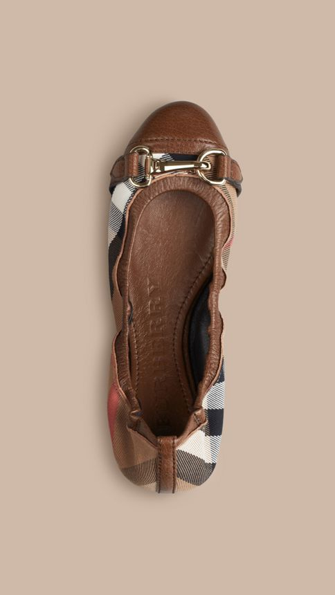 Dark tan Buckle Detail House Check Ballerinas - Image 3