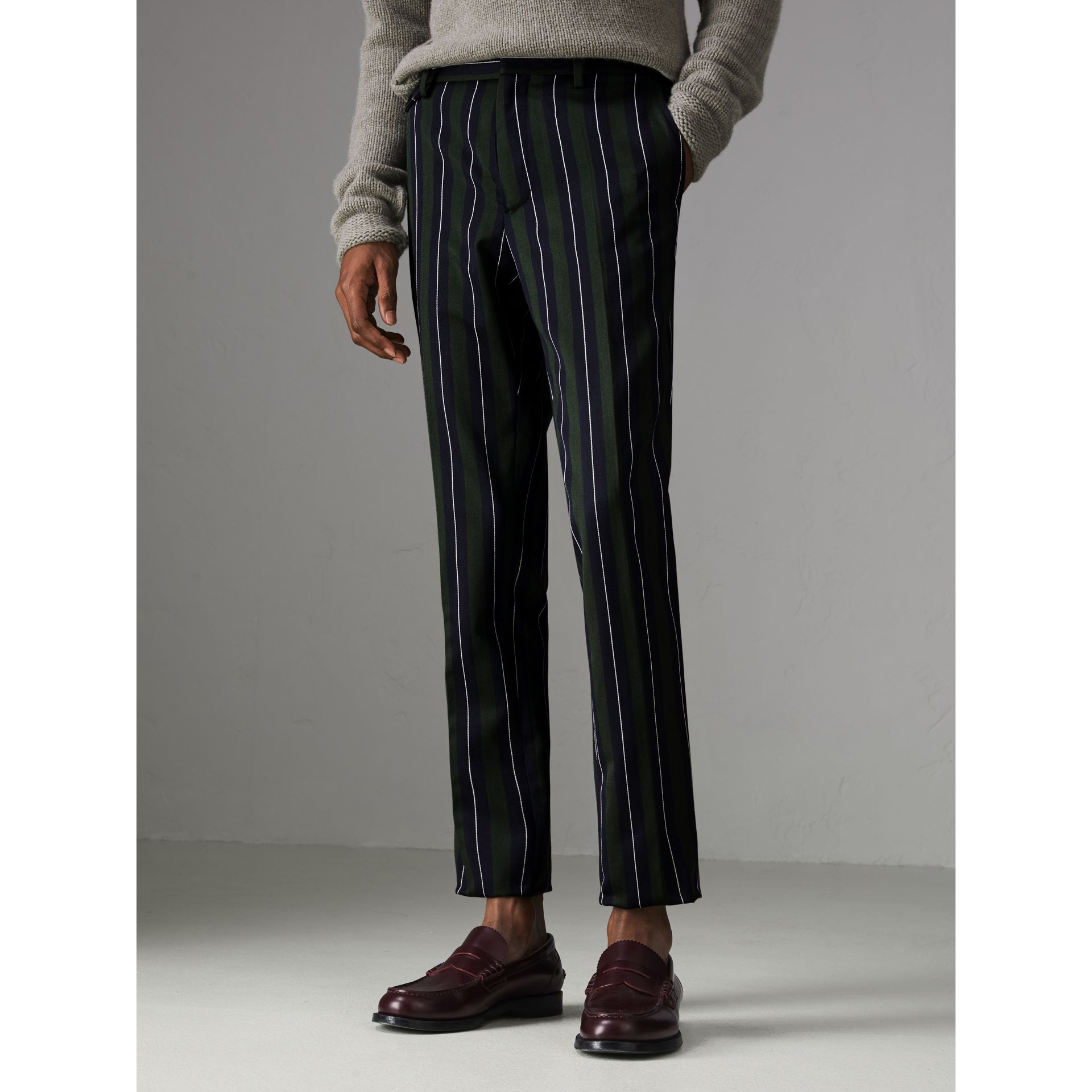 Striped Wool Cotton Tailored Trousers in Dark Forest Green - Men | Burberry Australia - gallery image 4