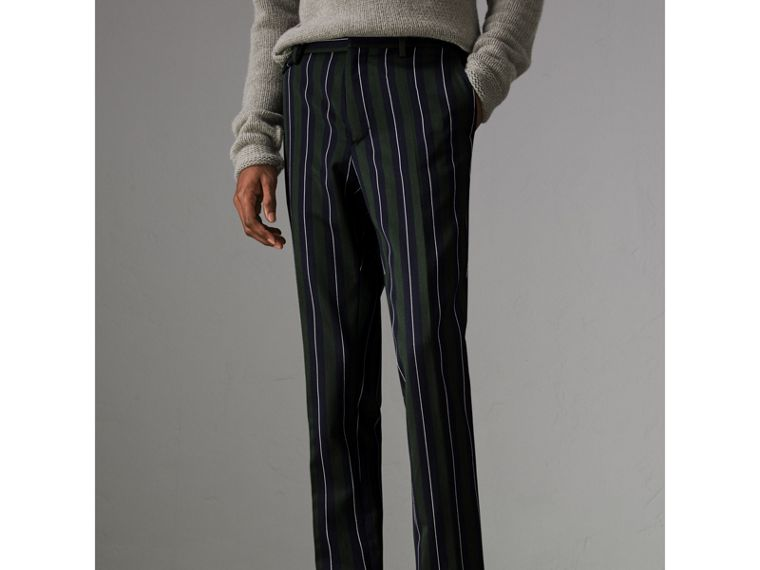 Striped Wool Cotton Tailored Trousers in Dark Forest Green - Men | Burberry - cell image 4