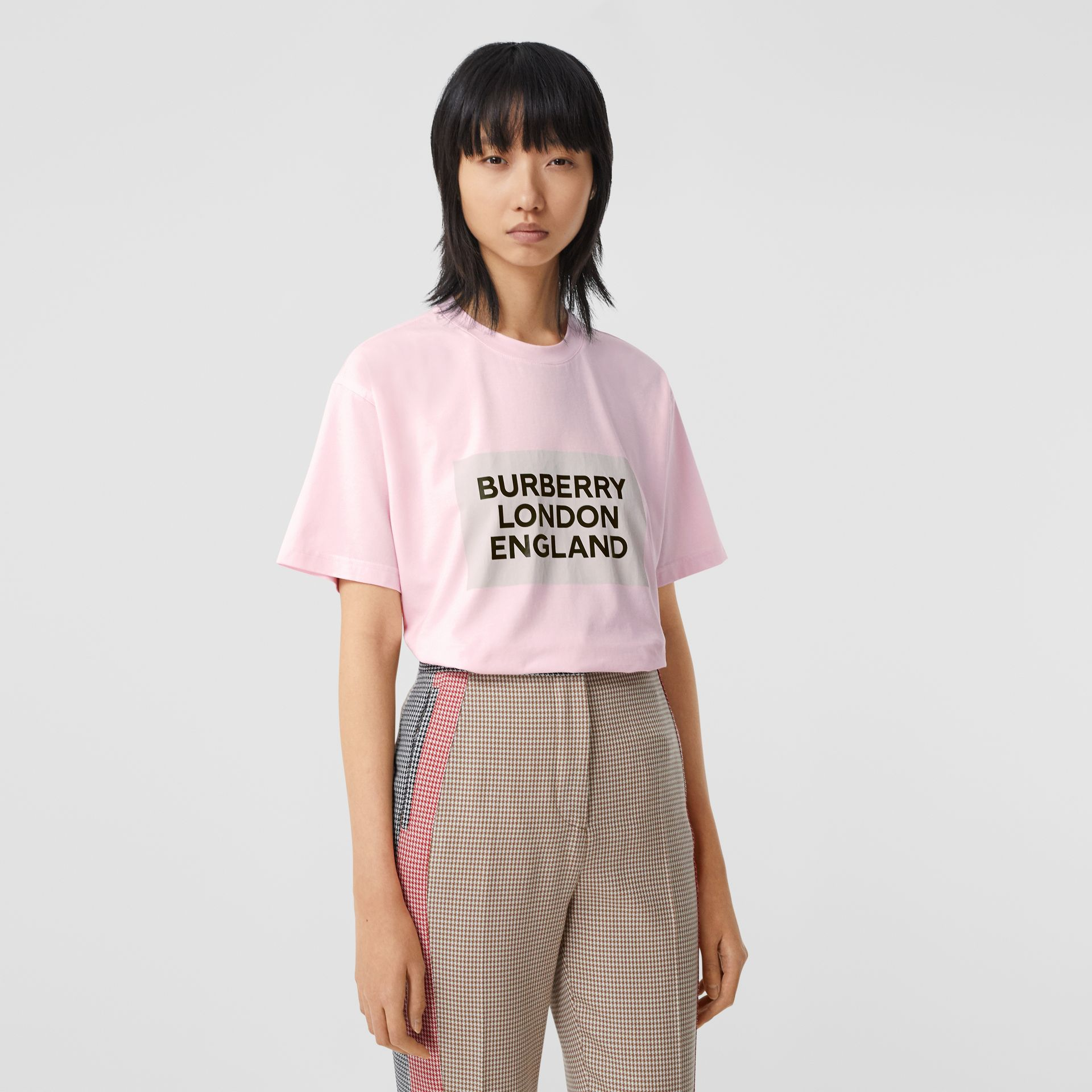 Logo Print Stretch Cotton Oversized T-shirt in Cloud Pink - Women | Burberry - gallery image 4