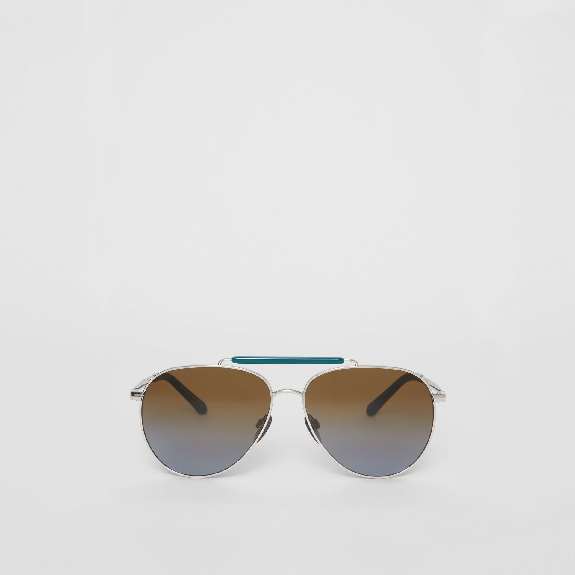 Top Bar Detail Pilot Sunglasses in Teal Blue - Men | Burberry United States - gallery image 0