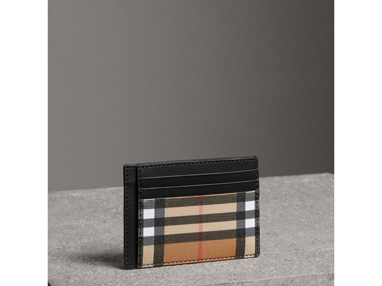 Vintage Check Leather Card Case in Black | Burberry - cell image 4