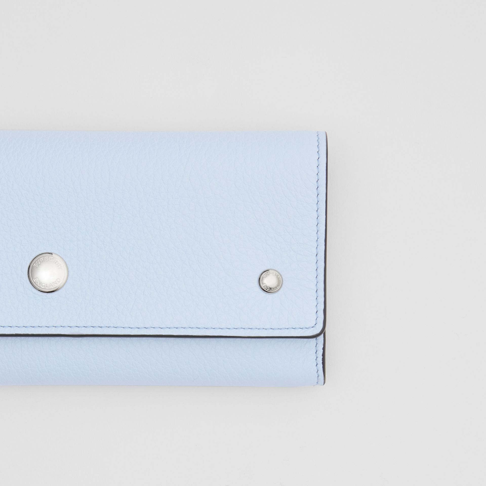 Grainy Leather Continental Wallet in Pale Blue - Women | Burberry - gallery image 1