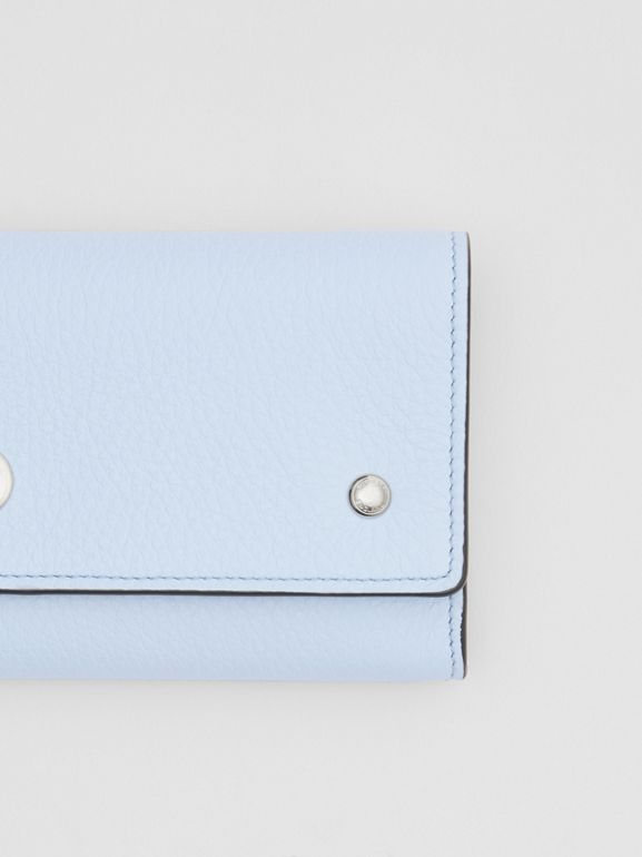 Grainy Leather Continental Wallet in Pale Blue - Women | Burberry - cell image 1