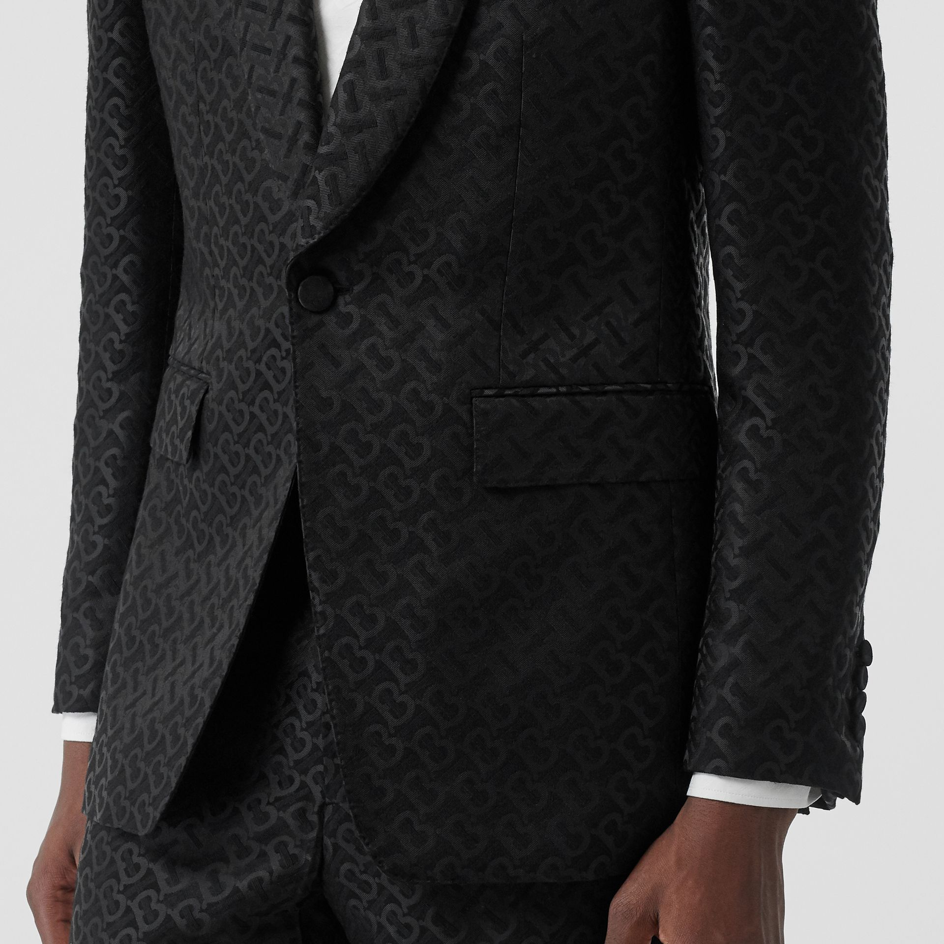 English Fit Monogram Wool Blend Jacquard Tuxedo in Black - Men | Burberry - gallery image 4