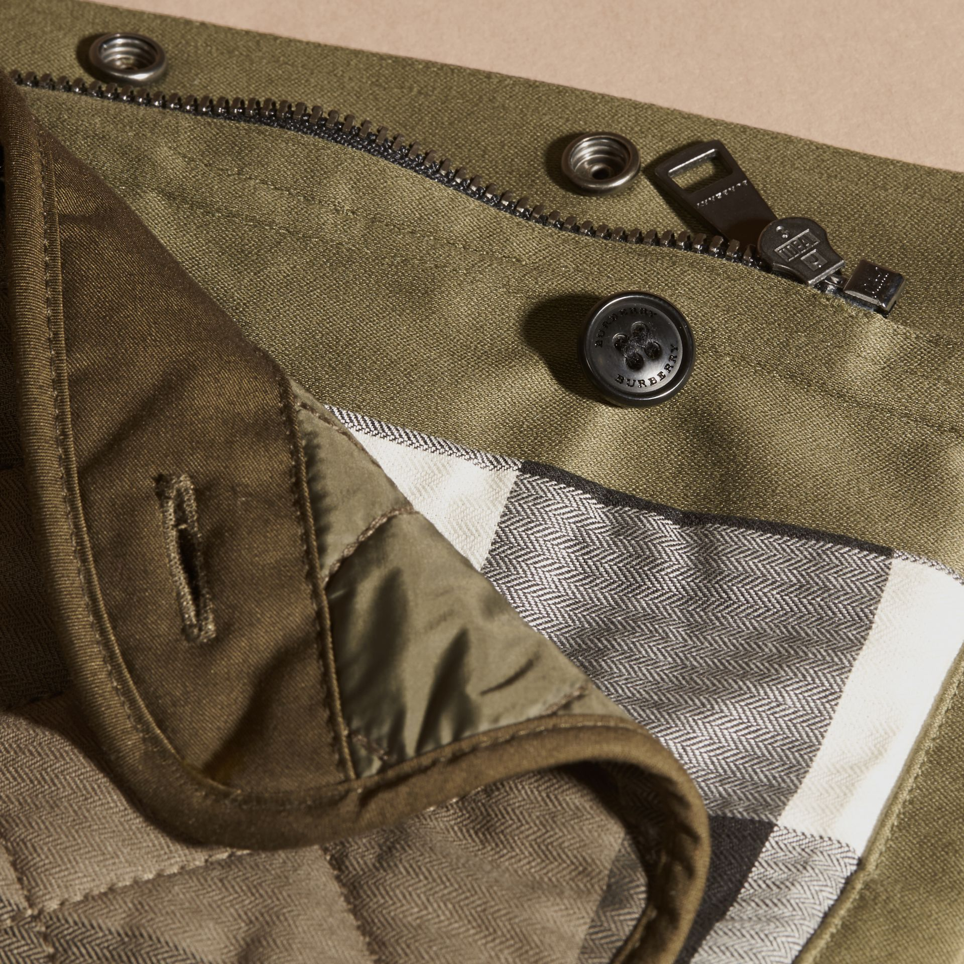 Olive Waxed Cotton Jacket with Detachable Warmer - gallery image 2