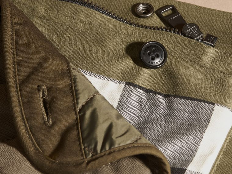 Olive Waxed Cotton Jacket with Detachable Warmer - cell image 1
