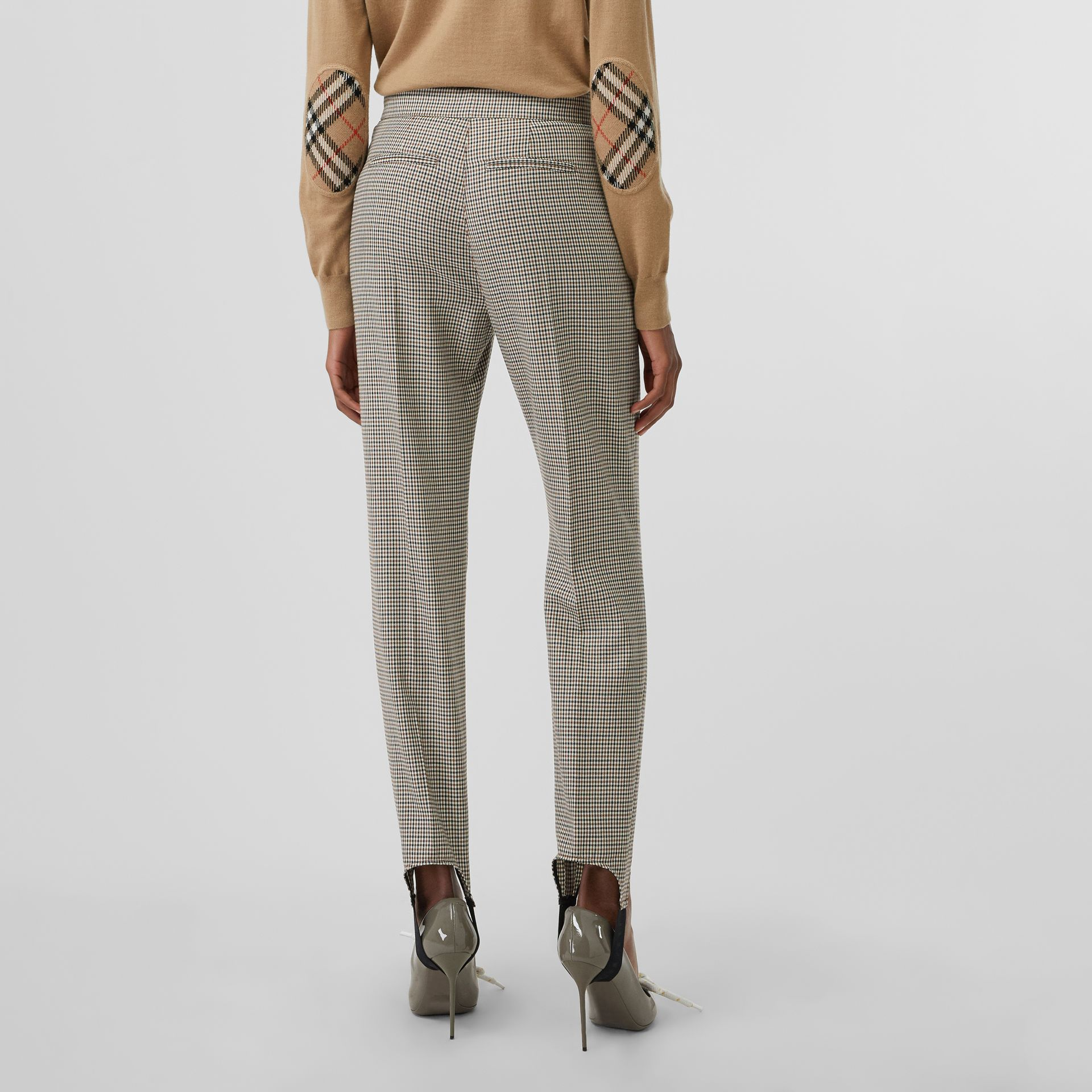 Houndstooth Check Stretch Wool Tailored Jodhpurs in Antique Yellow - Women | Burberry - gallery image 2
