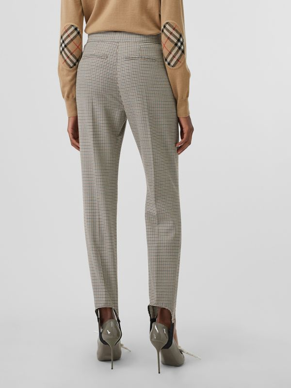Houndstooth Check Stretch Wool Tailored Jodhpurs in Antique Yellow - Women | Burberry - cell image 2