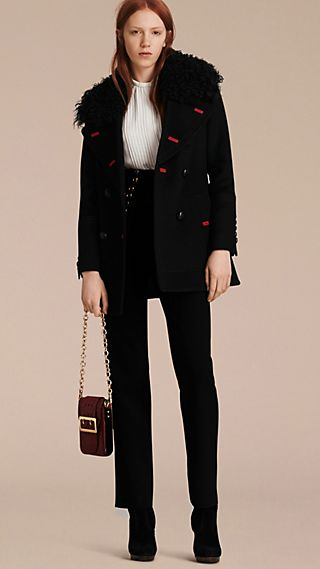 Shearling Collar Wool Pea Coat